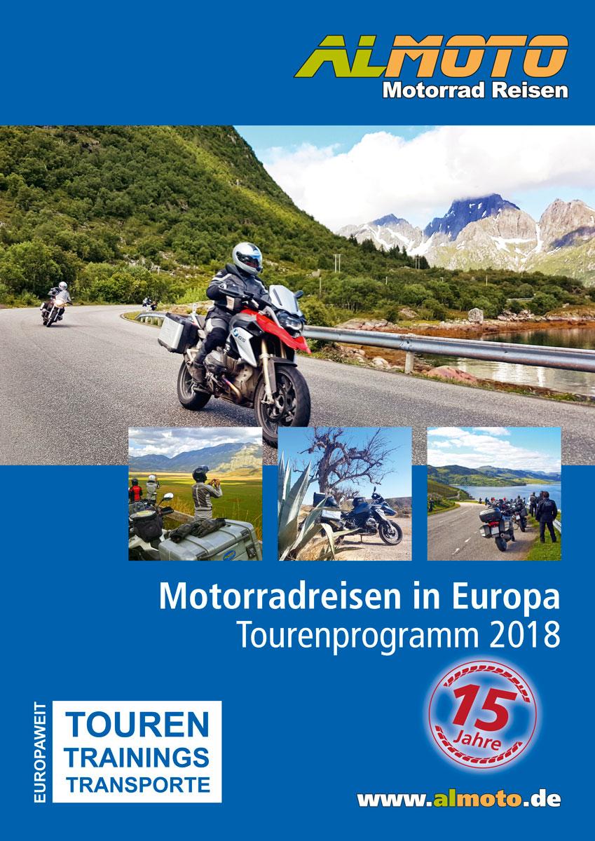 Kataloggestaltung 2018 Almoto Motorradreisen
