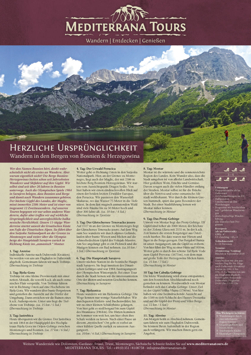 Flyer Wanderreise in Bosnien von Mediterrana Tours