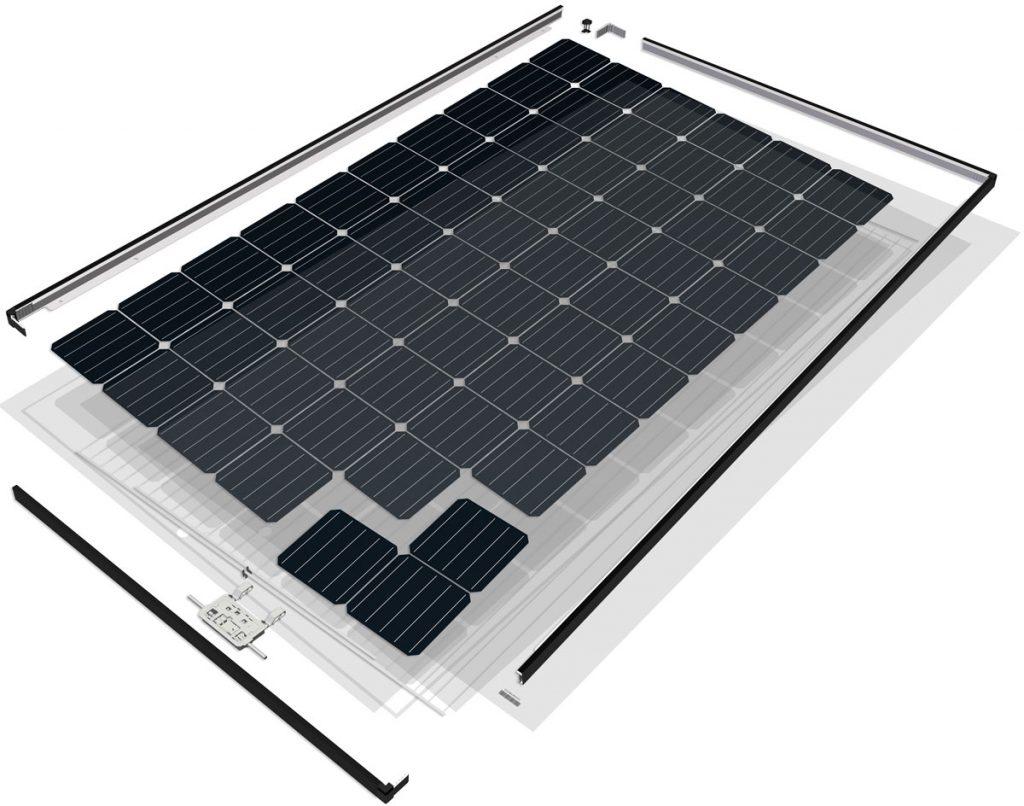 Explosionsgrafik Solarmodul SolarWorld