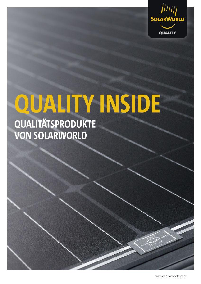 Gestaltung einer Broschüre über die Produktqualität bei SolarWorld