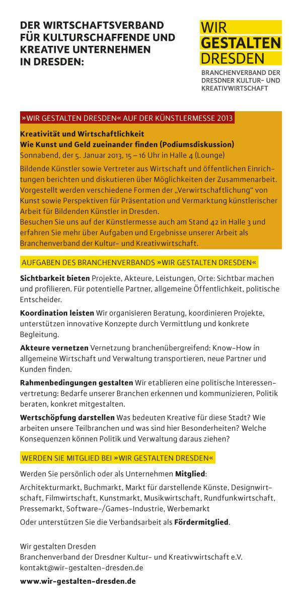 Flyer Kunstmarkt von Wir gestalten Dresden