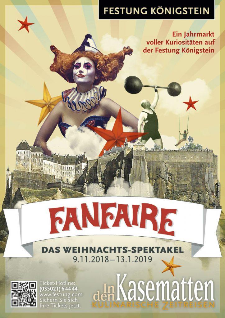 Plakat Weihnachtsfeier Fanfaire auf der Festung Königstein