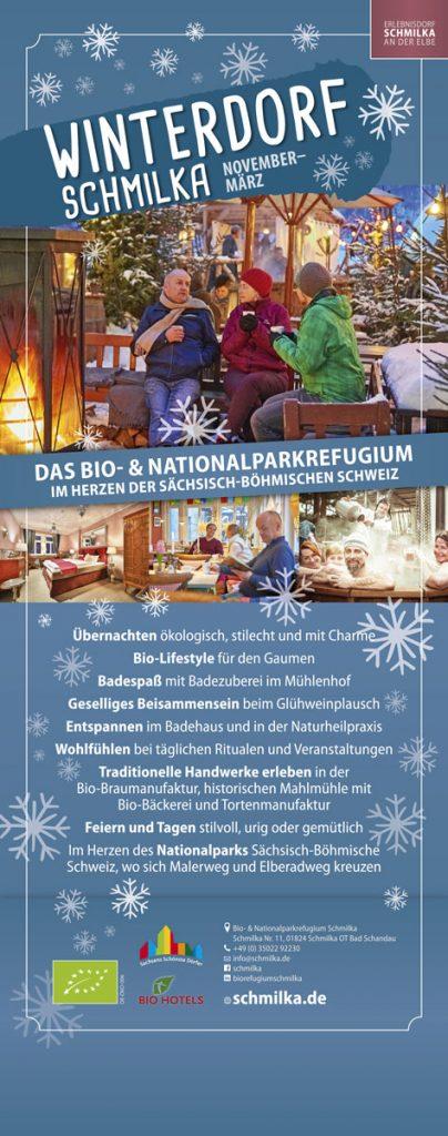 Werbebanner für das Winterdorf Schmilka