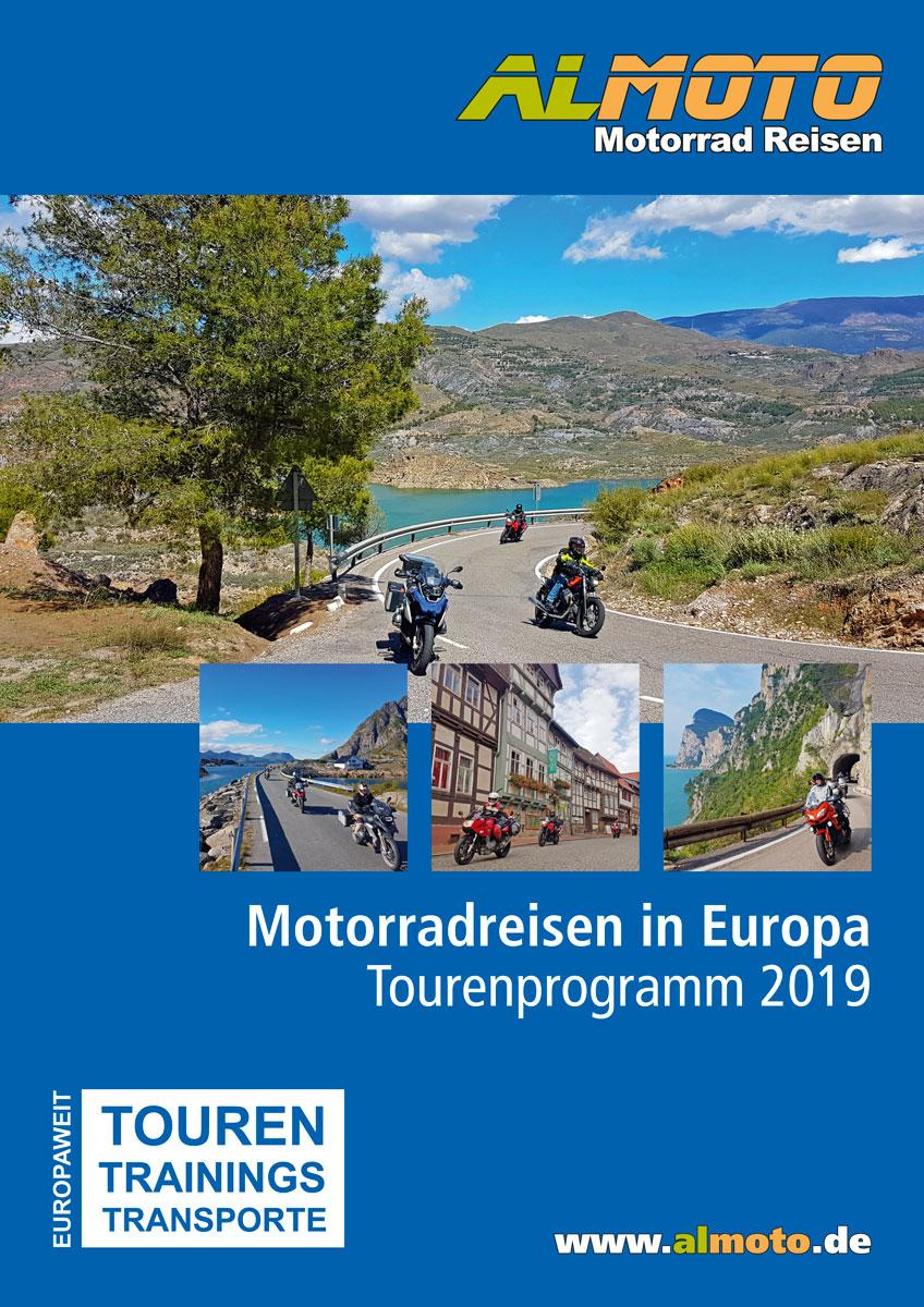 Kataloggestaltung 2019 Almoto Motorradreisen