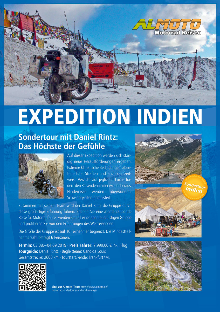 Plakat Almoto Motorradreisen zun Sonderreise in den Himalaya mit Daniel Rintz