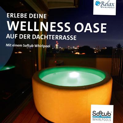 Prospekt für Relax Whirlpools über Softup-Dachterrassenpools