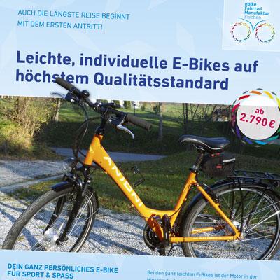 Flyer für Manufaktur von E-Bikes