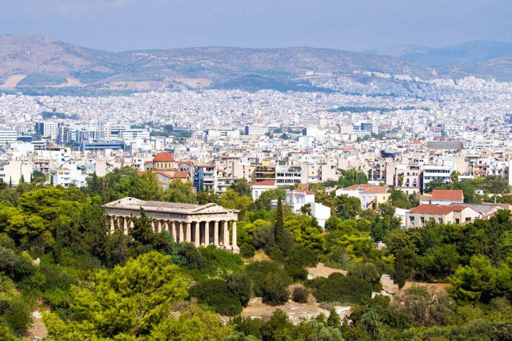 Blick über die Agora nach Athen, Griechenland