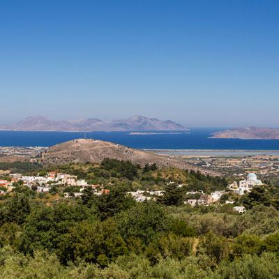 Panorama von Zia über Kos bis in die Türkei