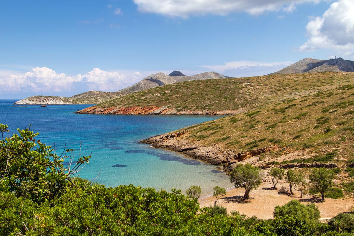 Kleine einsame Bucht bei Kioura auf Leros, Griechenland