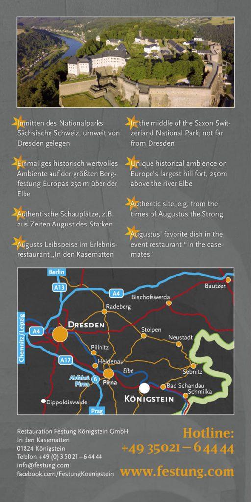 Produktflyer der Restauration Festung Königstein in englischer Sprache