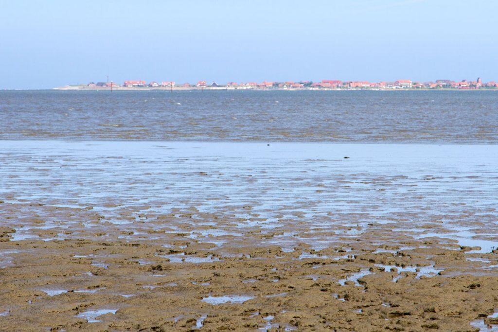 Blick über das Watt bei Flut von Neßmersiel nach Baltrum