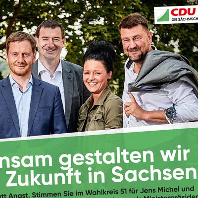 Anzeige für den CDU-Kandidaten Jens Michel zur Landtagswahl in Sachsen