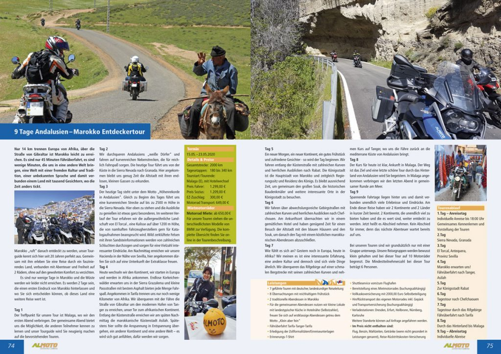 Jahreskatalog 2020 von Almoto Motorradreisen