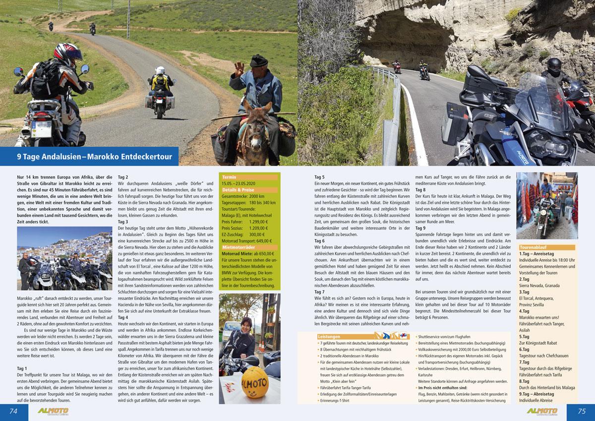 Gestaltung Katalog 2020 Almoto Motorradreisen