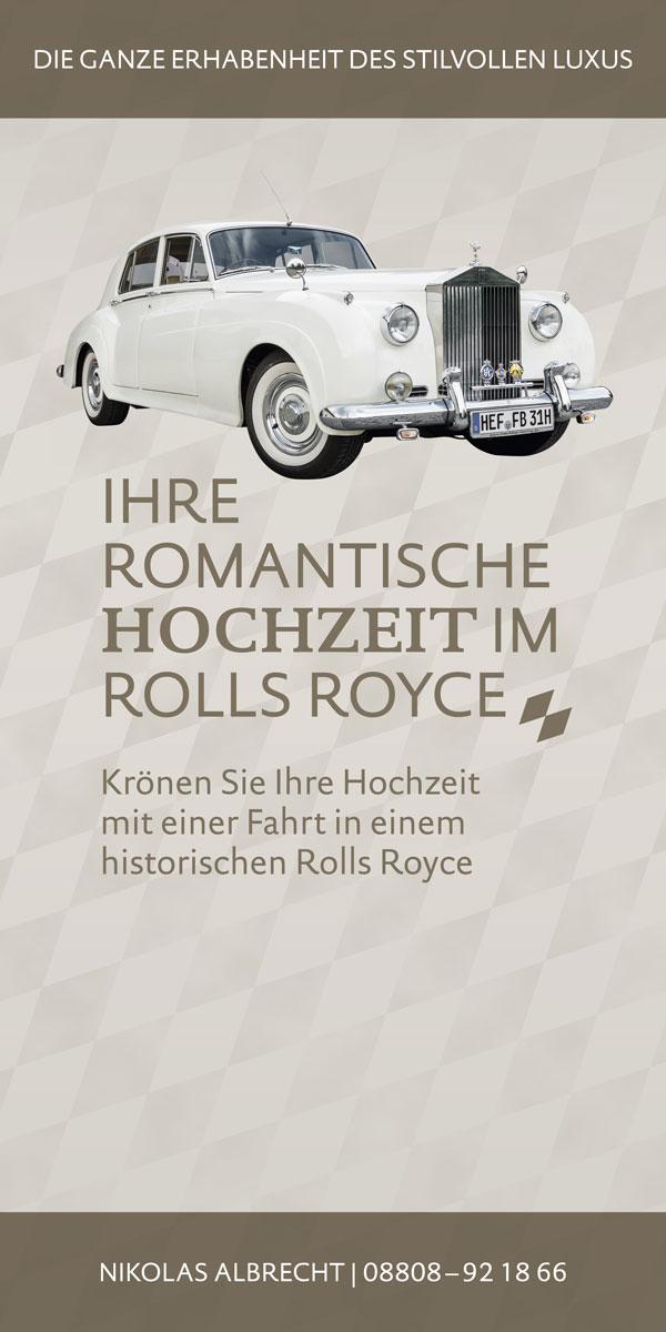 Aufsteller zum Miet-Rolls-Royce für Hochzeitsmesse