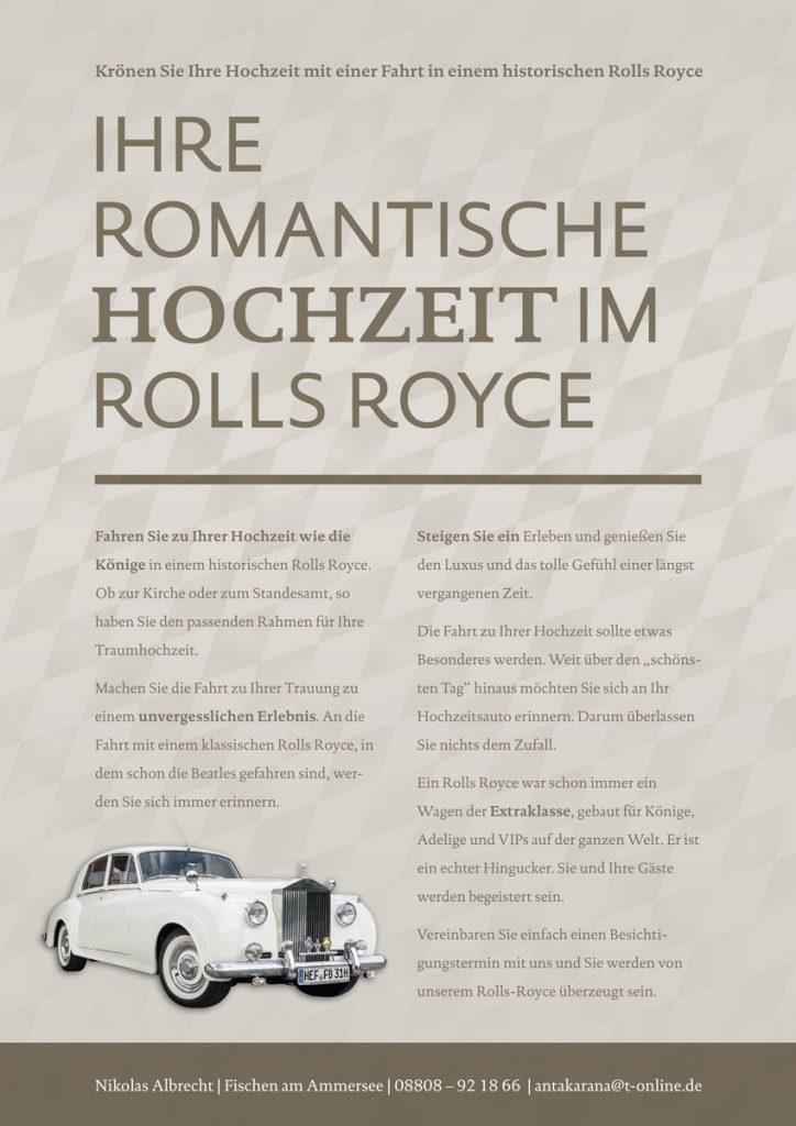 Flyer zum Miet-Rolls-Royce für Hochzeitsmesse