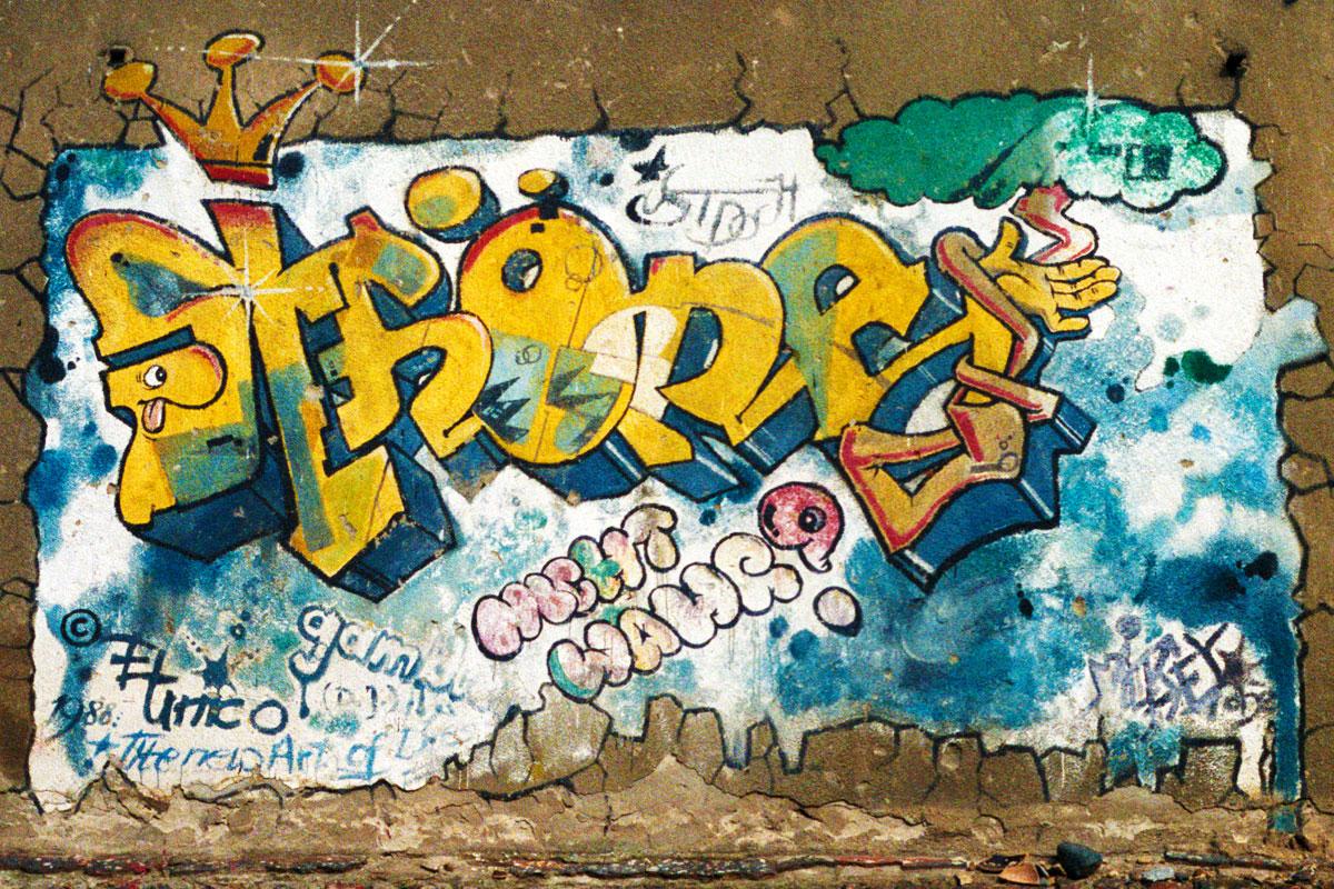 Eins der ersten Graffiti in Dresden
