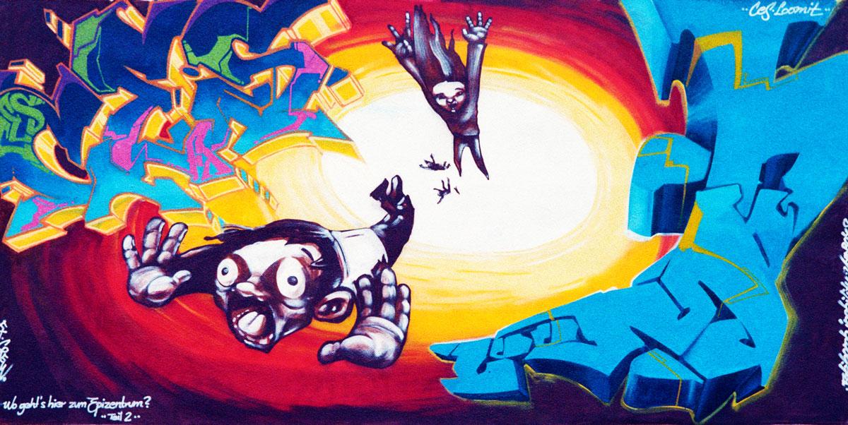 Graffiti von Loomit aus einem Workshop in Riesa (1996)