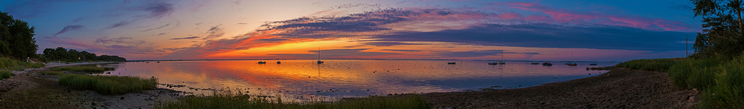 Sonnenuntergang in Loissin bei Greifswald als Panorama