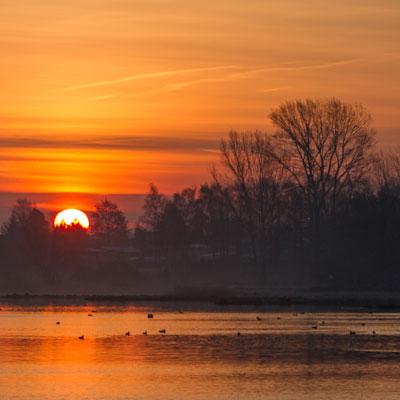 Sonnenaufgang in Stralsund-Devin