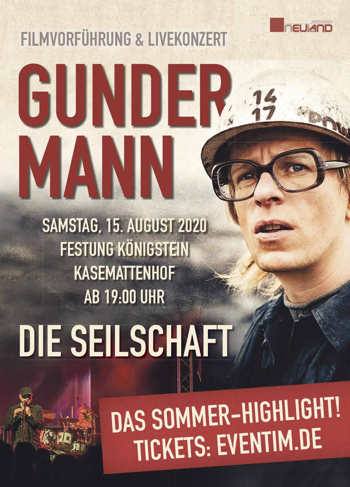 Anzeige für das Konzert- und Filmevent Gundermann auf der Festung Königstein