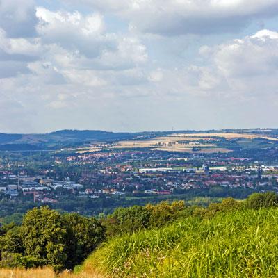 """Blick vom """"Sachsens Hiefel"""" in Dresden-Rockau über das Elbtal"""