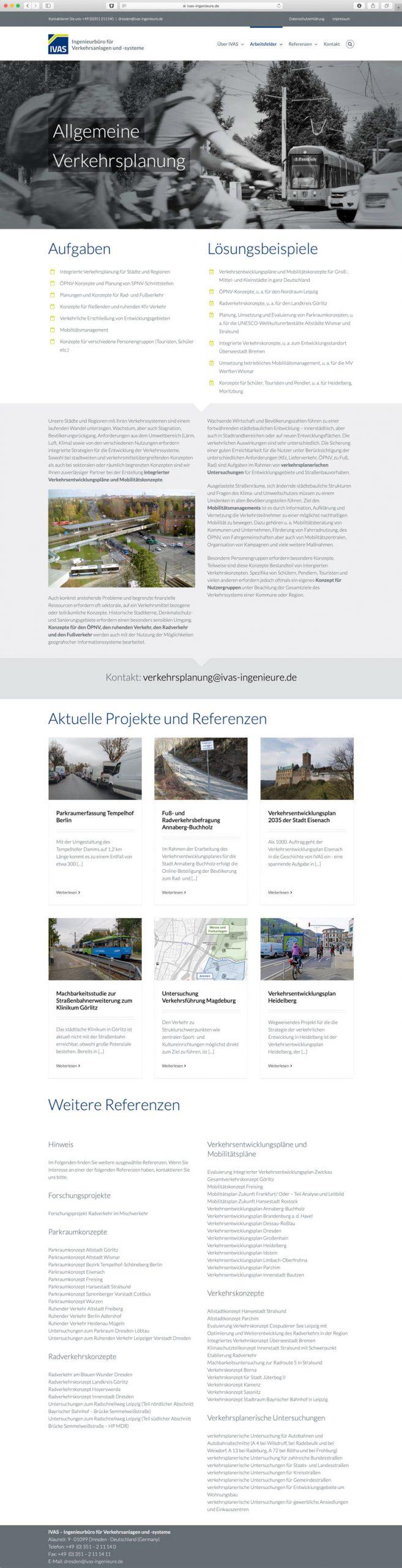 Gestaltung der neuen Webseite des Ingenieurbüros IVAS in Dresden