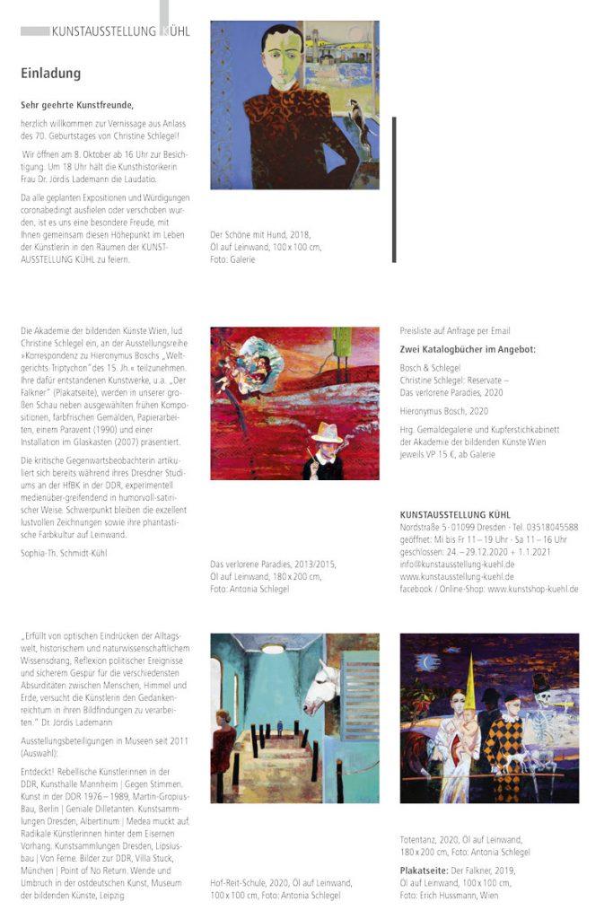 Selfmailer zur Schlegel-Ausstellung der Kunstausstellung Kühl