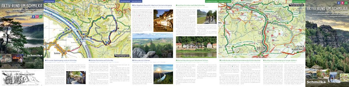 Folder mit Karten und Beschreibungen für Aktivitäten rund um Schmilka