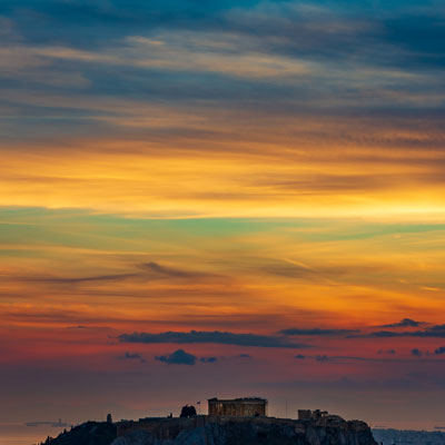 Akropolis in griechischen Athen im Sonnenuntergang