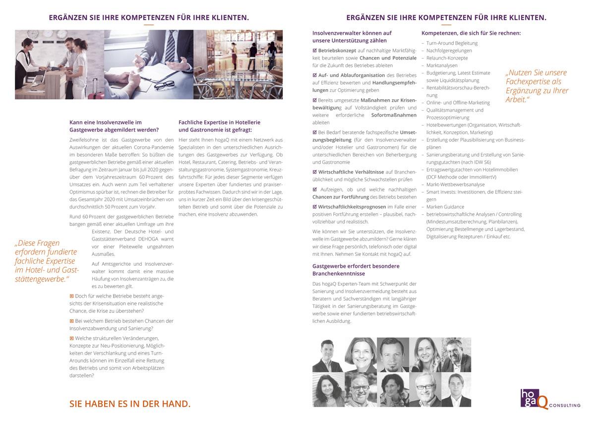 Prospekt für hogaQ Consulting für Insolvenzverwalter