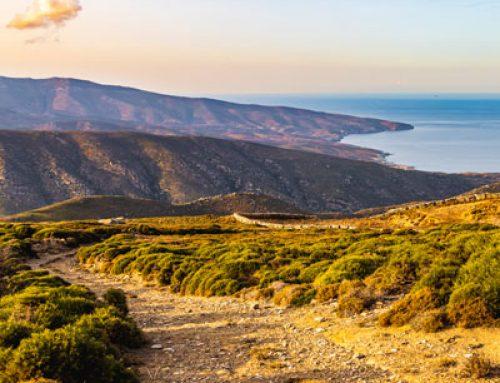 Panorama von Küste zu Küste auf Andros