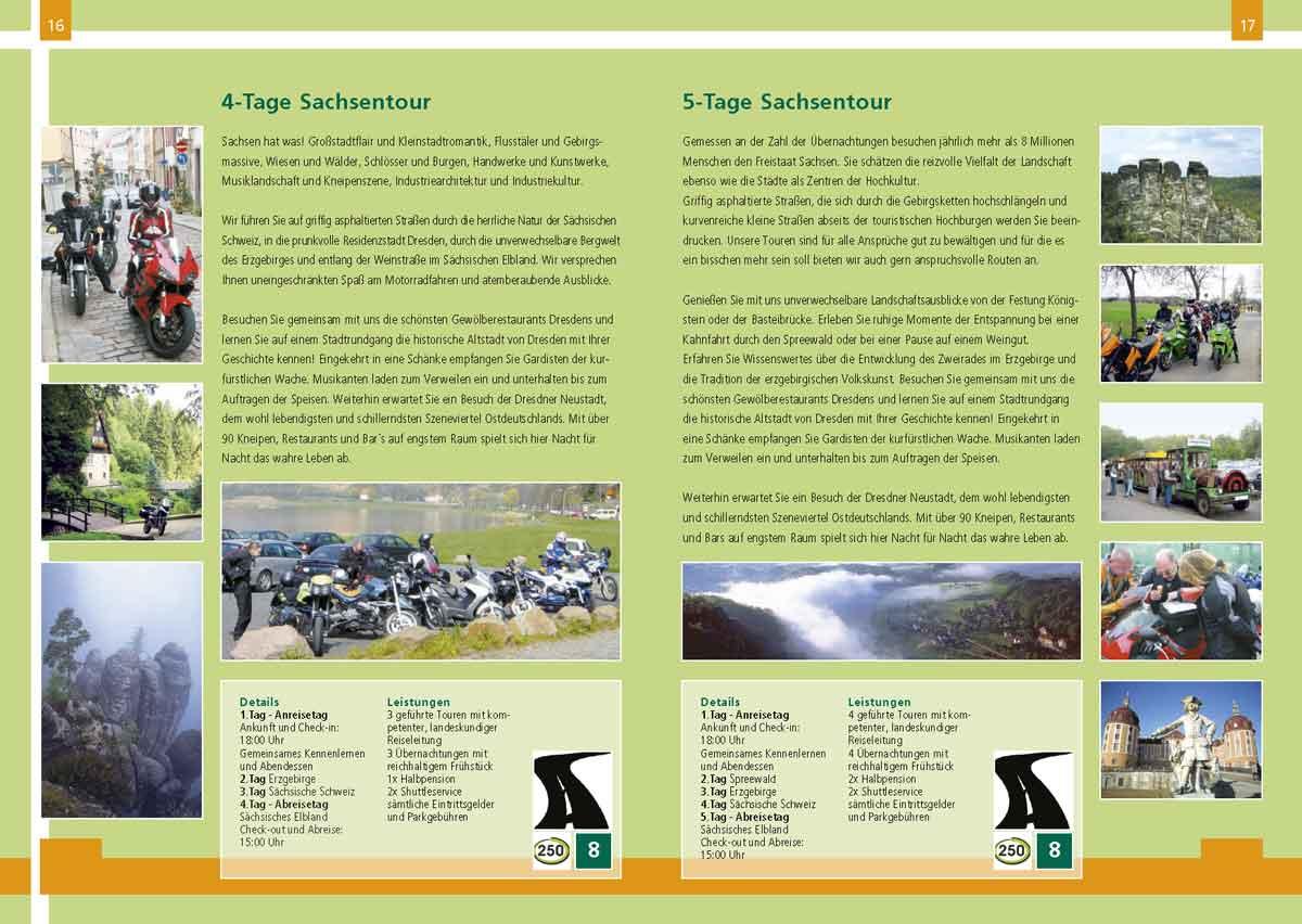 Kataloggestaltung Sachsenbike Tours 2005 Doppelseite