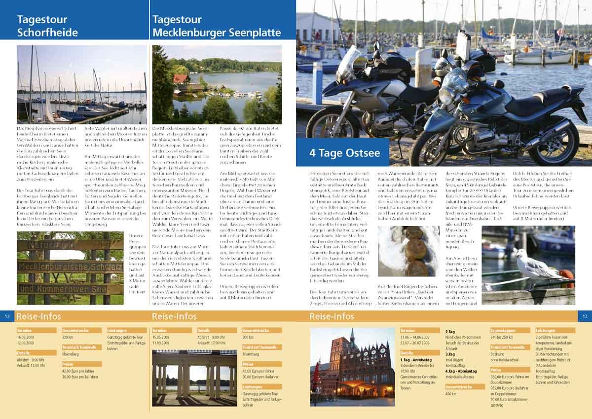 Katalogdoppelseite Almoto Motorradreisen 2009