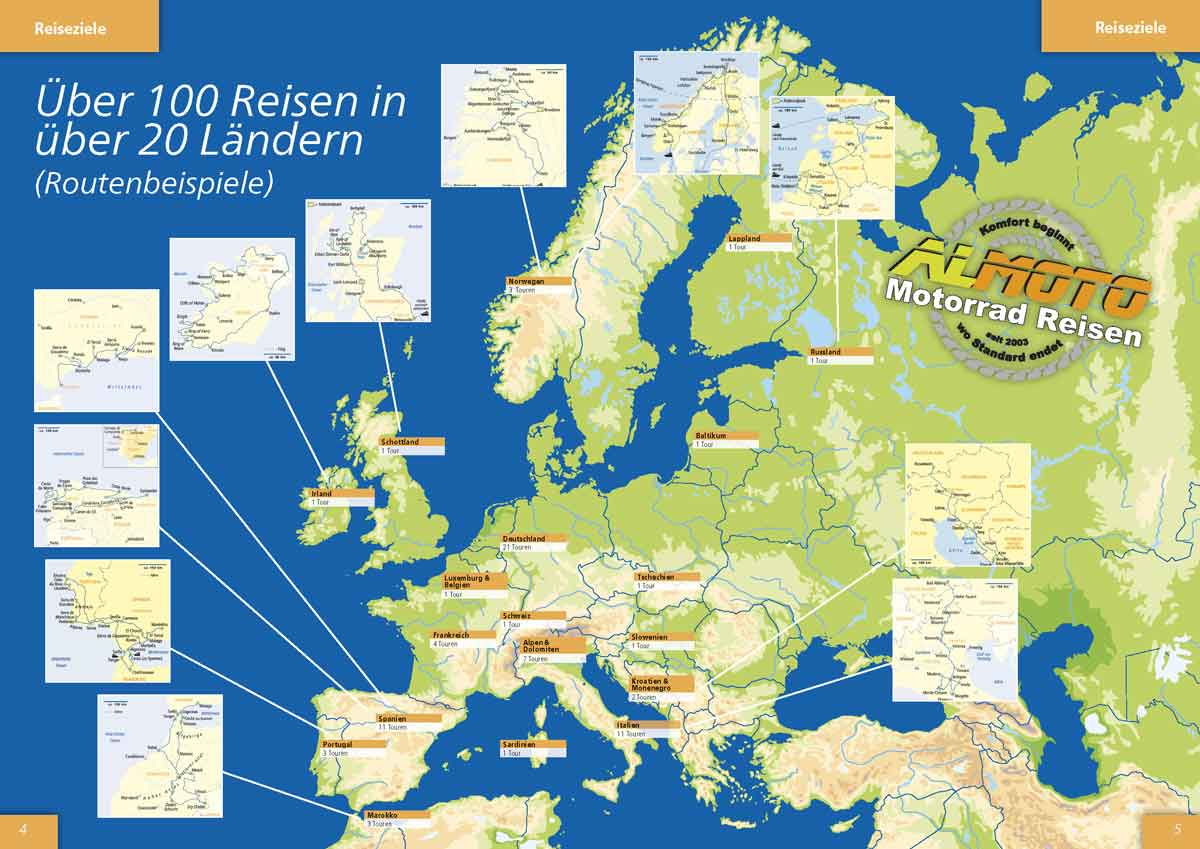 Kataloggestaltung 2018 Almoto Motorradreisen mit großer Karte