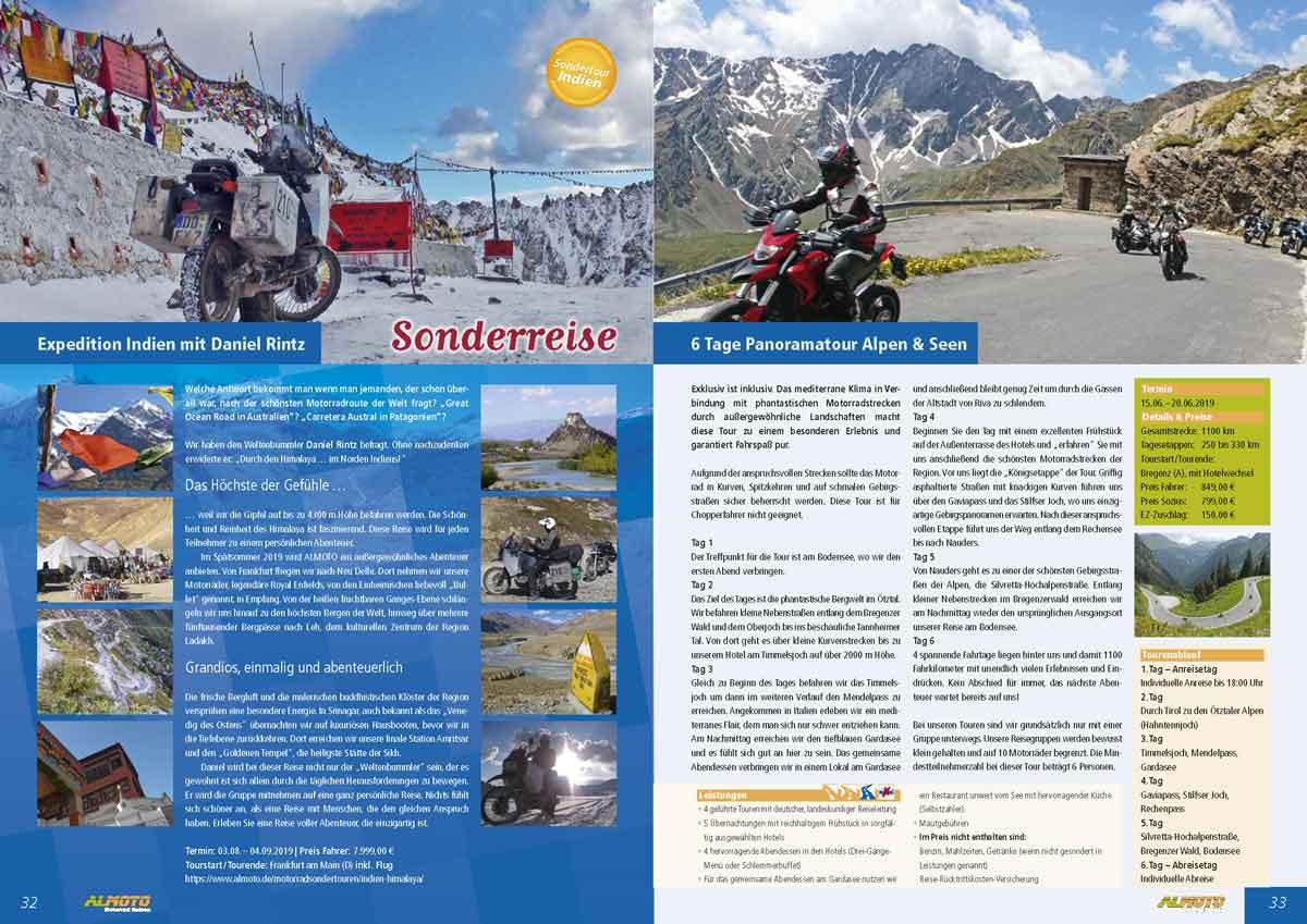 Kataloggestaltung Almoto Motorradreisen mit Sonderreise